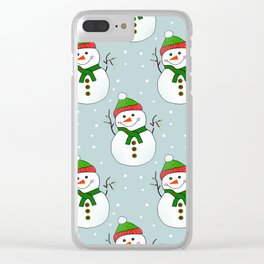 Christmas Snowman Pattern  -  Merry Christmas Clear iPhone Case