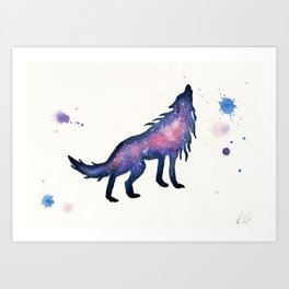Purple Pink Nebula Wolf Art Print