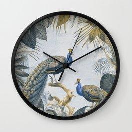 Peacocks Paradise Imaginative Botanical Illustration Wall Clock