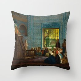 Sermon in the Mosque by Jéan Leon Gerome Throw Pillow
