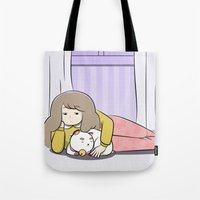 bee and puppycat Tote Bags featuring My Puppycat by Annemator