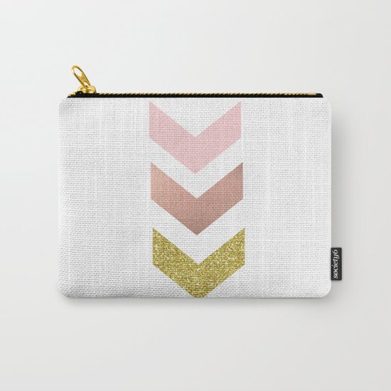 Rose gold chevron Carry-All Pouch
