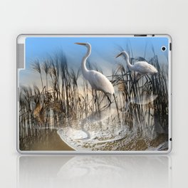 White Egrets in a Morning 1 Laptop & iPad Skin