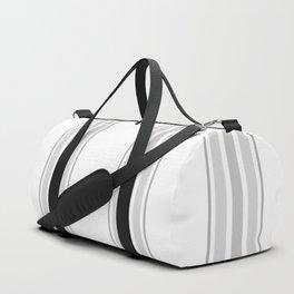 Farmhouse Ticking Stripes in Gray on White Duffle Bag
