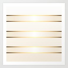 Cream Gold Stripes Art Print