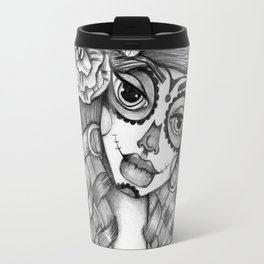 JennyMannoArt Graphite Illustration/Dias de los Muertos Travel Mug
