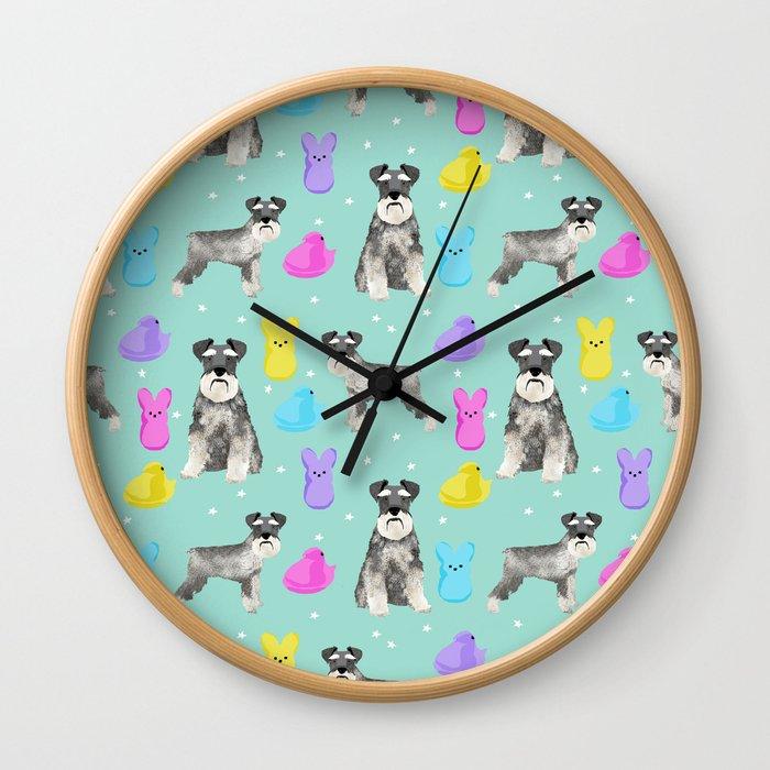 Schnauzer dog breed peeps marshmallow easter spring dog pattern gifts schnauzers Wall Clock