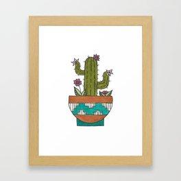 Flowering Kingcup Cactus Illustration - Potted Cacti Design Framed Art Print
