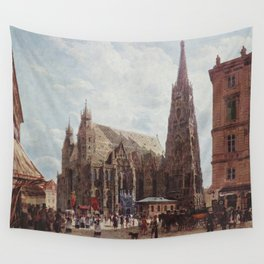 View Of The Stephansdom From Stock Im Eisen Platz 1832 by Rudolf von Alt   Reproduction Wall Tapestry