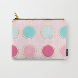 Pink and Teal Gold Framed Polka Dots Carry-All Pouch