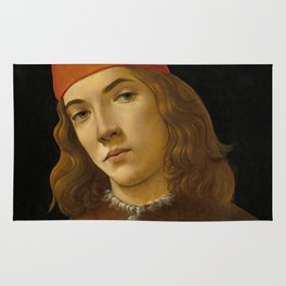 "Sandro Botticelli ""Portrait of a Young Man"" (I) Rug"