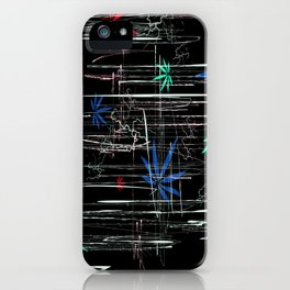 Colorful Marijuana Leaves and Scratches iPhone Case