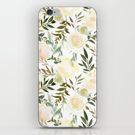 Modern blush yellow pink green watercolor botanical pattern iPhone Skin