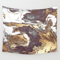 android Wall Tapestries featuring Black White Gold by Jenna Davis Designs
