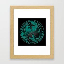 Teal Blue and Black Yin Yang Dragons Framed Art Print