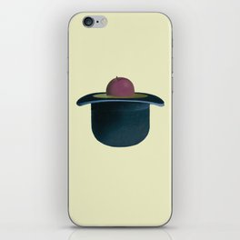 A single plum floating in perfume served in a man's hat. iPhone Skin