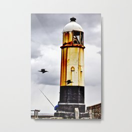 Fishing behind the lighthouse Metal Print