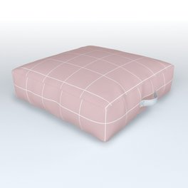 Pink and White Grid /// pencilmeinstationery.com Outdoor Floor Cushion