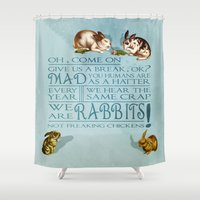 rabbits Shower Curtains featuring Freaking Rabbits by Diogo Verissimo