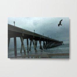 Surreal Haunting Coastal Blue Ocean Fishing Pier Metal Print
