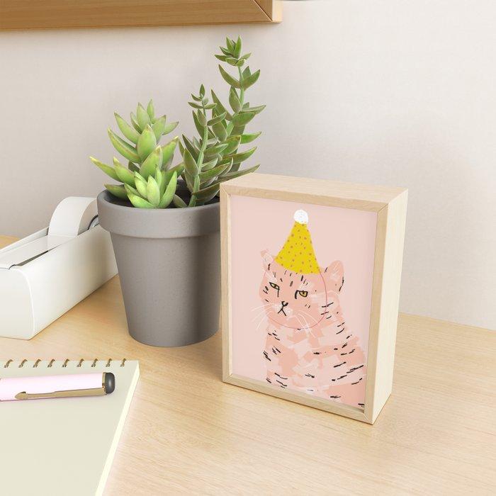 Party Cat Framed Mini Art Print