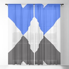 Minimal X Blue Sheer Curtain