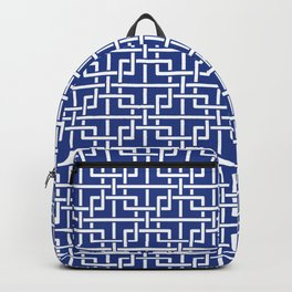 Tangled squares Chinoiserie in blue & white Backpack