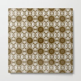 Brown Floral Abstract Metal Print