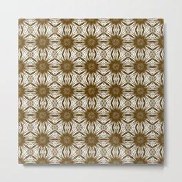 Brown Floral Abstract Metal Print