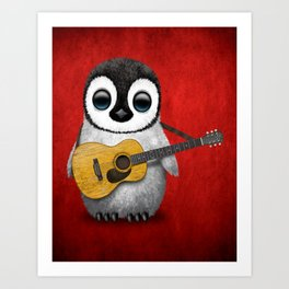 Musical Baby Penguin Playing Acoustic Guitar on Deep Red Art Print