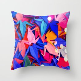 Senbazuru | pink and blues Throw Pillow