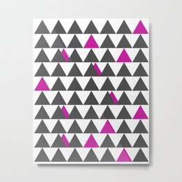 Gray and Pink Triangles Metal Print