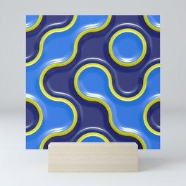 Blue Bubbly Wall Maze Artwork Mini Art Print