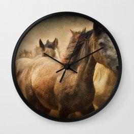 Horses Running Digital Art Wall Clock