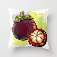 vietnam Throw Pillows featuring Vietnam Mangosteen by Vietnam T-shirt Project