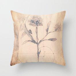 Vintage Golden Ratio Strawflower Throw Pillow