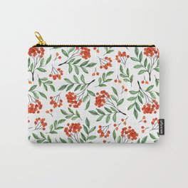 Modern hand painted orange green watercolor floral Carry-All Pouch