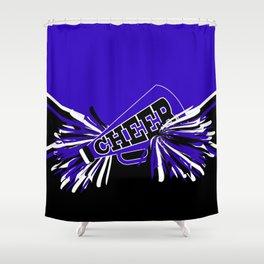 Blue, Black and White Cheerleader Design Shower Curtain