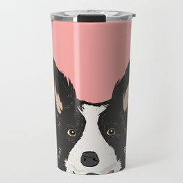 Border Collie pet portrait pink background dog lover art gifts Travel Mug