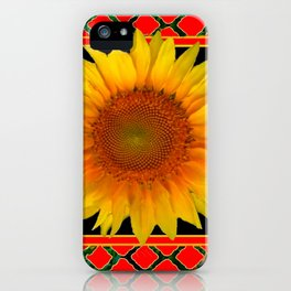 RED-TEAL BLACK  DECO YELLOW SUNFLOWERS iPhone Case