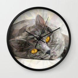 British CAT Low poly Wall Clock