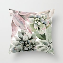 Circular Succulent Watercolor Throw Pillow