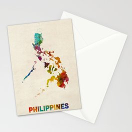 Philippines Watercolor Map Stationery Cards