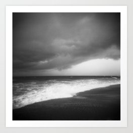 Black Storm Clouds Over the Ocean in the Outer Banks - Black and White Film Photograph Art Print