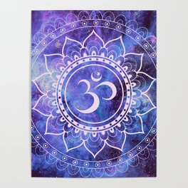 Om Mandala Purple Lavender Blue Galaxy Poster