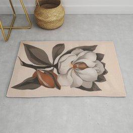 Vintage Magnolia Blossom Botanical Floral Print Rug