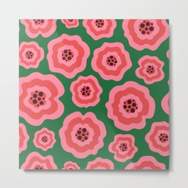 Pink liquid abstract flowers on green background Metal Print