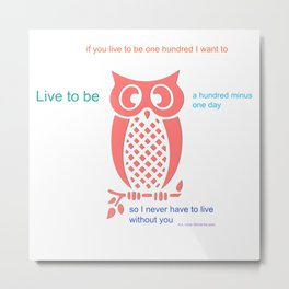 Owl Seuss quote Metal Print