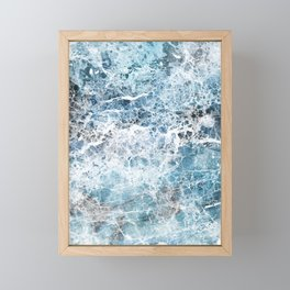 Sea foam blue marble Framed Mini Art Print