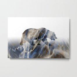 Marble Bear Metal Print
